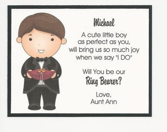 Will you be my Ring Bearer Flat card - Personalized custom