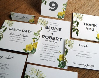 Printable Wedding Invitation Kit - Wedding Printables - Wedding Invitation Kit - Wedding Stationery Download - Botanical - Vintage Roses
