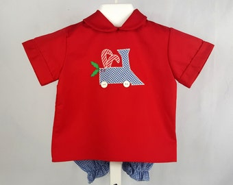 Vintage Boys Christmas Outfit- Red Shirt with Blue Gingham Train and Candy Canes and Gingham Knickers- Size 4t- New, never worn