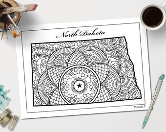Coloring Pages United States : Minnesota decorative map coloring pages for adults zentangle