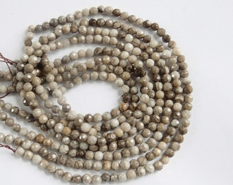 4mm  Silver Leaf jasper  faceted round beads  , full strand (15 inches) . gorgeous quality, Coffe, beige, gray , white, yellow