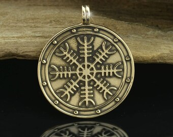 Aegishjalmur Helm of Awe Icelandic Magical Rune Medallion Bronze Pendant Viking Norse Vikings Heathen Asatru Runes Pagan Iceland necklace