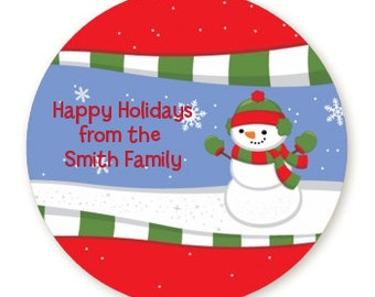 Frosty The Snowman - Personalized Round Christmas Sticker Labels - Available in 8 Different Sizes - Custom Design