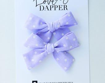Lavender Hair Bows, Hair Accessories,  Pig Tail Bows, Pigtail Bows, Bows, Hair Bows, Mini Bows, Hair Barrettes, Hair Clips, Purple