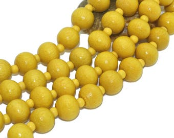1 strand of 100 beads 08mm yellow wood