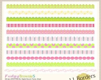 ON SALE Digital border, borders frames clipart, digital scrapbooking border. B-10 pink green , Instant Download
