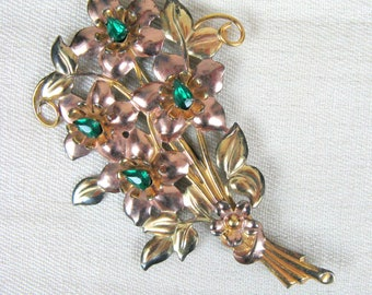 Vintage 1940s Floral Brooch 40s Sterling 1/20 12K GF Plated Vermeil Large Flower Brooch with Green Stones