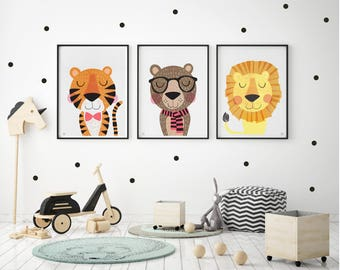 Wonderful Lion, Tiger, Bear, Nursery Art, Baby, Kids Wall Art, Kids Bedroom, Cute  Characters, Set Of 3, Contemporary Art, Illustration, Scandinavian