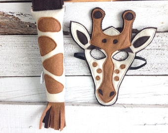 Giraffe Costume - Felt Mask, Tail, & Veest - Wool or Eco Felt