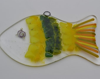 Yellow and Green Fish Fused Glass Sun Catcher