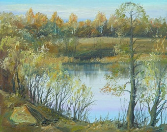 Quiet Backwater - By V. Moskalenko Russian Original Oil Painting Canvas, 16x12 Inches