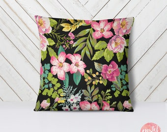 Vintage Floral Exotic Flowers 60s Style Black  - Throw Pillow Case, Pillow Cover, Home Decor - TPC1150