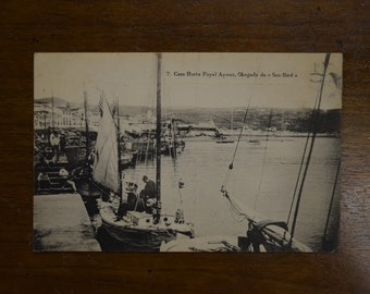 Portugal Boats Harbor Fayal Azores - Faial Island - 1940s - Vintage Real Photo Postcard RPPC