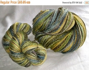 20% OFF SALE 2 skein 8.1 oz 500 yds SW Merino 80/20 Spring to Fall Green Mix Yarn hand dyed hand spun Hsy32