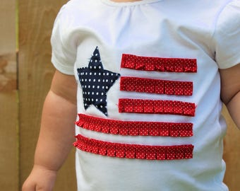 American Flag Shirt - 4th of July Shirt - Independence Day Shirt - Red, White and Blue Shirt - Girl's July 4th Shirt - Embroidered Shirt