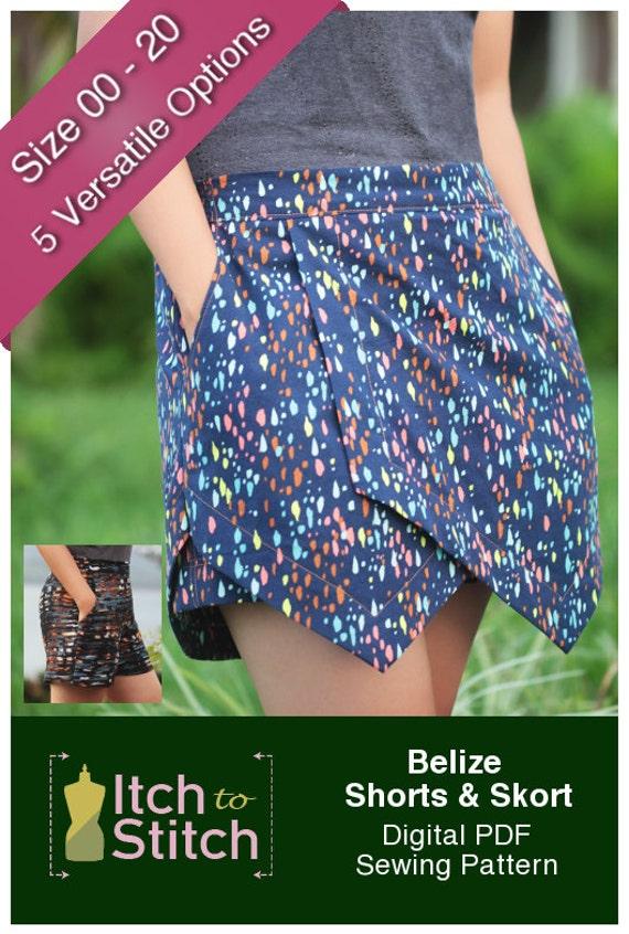 Belize Shorts & Skort PDF-Schnittmuster für Frauen PDF