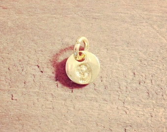 1 - Number 9 Stamped Initial Charm 22K GOLD Plated Copper 6mm Round Disc Monogram Letter Alphabet  G119-g