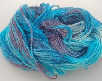 Hand dyed, handspun angora yarn