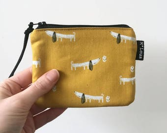 Tiny little zipper pouch coin pouch dachshund small wallet sausage dog bag zipper purse tiny wallet travel purse retro ochre yellow byMlous