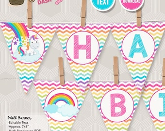INSTANT DOWNLOAD - EDITABLE Unicorn Rainbow Birthday Pennant Banner Unicorn Rainbow Party decorations Happy Birthday Wall Banner