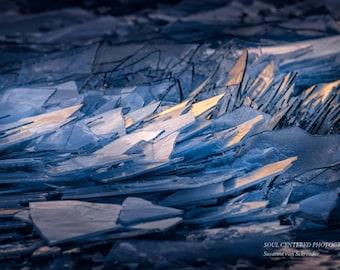 Lake Superior Ice, Zen Nature Photo, Beach, Navy Blue, Light, Magical, Meditation, Winter Nature Photography, Abstract Photo, Healing Art