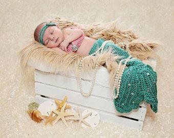 Newborn Mermaid Photo Prop/ Fancy Tail Mermaid Prop/ Coral and Sea Green Mermaid Tail