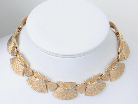 Gold Tone Choker Necklace Clear Rhinestones Articulated ART Signed Vintage