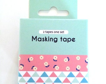 washi tape - adhesive tape - decorative masking tape - cardmaking tape - scrapbooking tape - gift wrapping - flowers & triangles washi tape