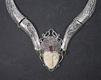 Vintage Balinese Silver Plated Goddess Necklace Salesmans Sample