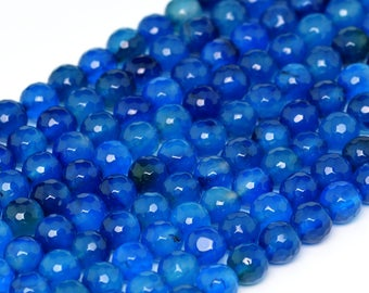 """8MM Hawaii Blue Faceted Agate Natural Gemstone Round Shape Full Strand Loose Beads 15"""" (100346-288)"""