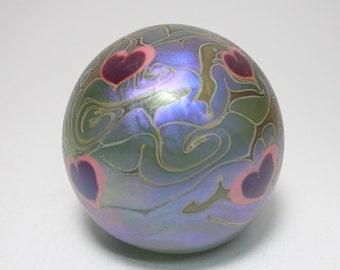 Vintage Vandermark Iridescent Purple Hearts and Vine Art Glass Paperweight, Vandermark Hearts and Vine Paperweight, Vandermark Art Glass