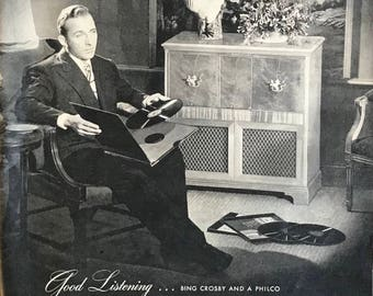 "1946 Philco radio ad ""Good Listening ...Bing Crosby and a Philco"""