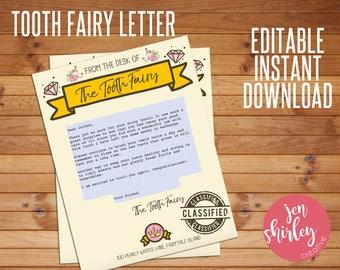 Tooth Fairy Letter, Tooth Fairy Letterhead, Letter from the Tooth Fairy, Editable Letter, Customized, Custom, Printable, Editable, Instant