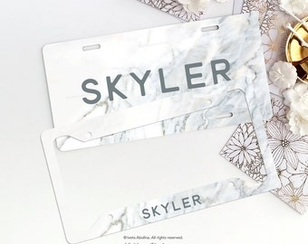 Personalized Car License Plate, Monogrammed License Plate Frame Marble Print Car Plate Frame Individualized Car License Plate Frame Set 07.