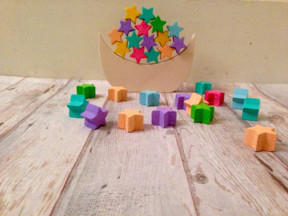 Handmade stacking puzzle,STARS puzzle, Montessori puzzle, Waldorf puzzle,  puzzle gift set, stackable puzzle, colorful puzzles, toddler toys