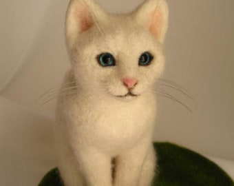 White cat Handmade Needle Felted Miniature wool animal