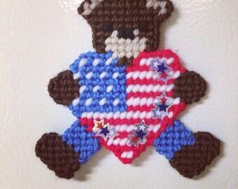 Teddy Bear July Fourth Magnet