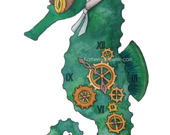 "Watercolor Steampunk Seahorse 5x7"" Art Print"