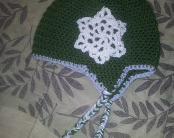 Crochet Earflap Hat With Snowflake Size 12-24 Month