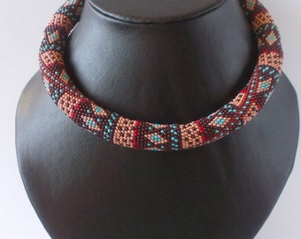 Beaded choker Necklace Indian Iced Coffee Gift for her Boho choker Indian jewelry Ethnic necklace Tribal For women Indian pattern Rhombus