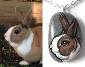 Pet Portrait Necklace, Custom Animal Art, Hand Painted Rock, Pebble Pendant, Dog Painting, Cat Memorial Jewelry, In Memory, Acrylic Painting