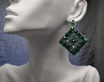 Swarovski Earrings-dangle earrings-handmade earrings-beadweaving earrings-prom-wedding-boho earrings-bohemian earrings-green-white earrings