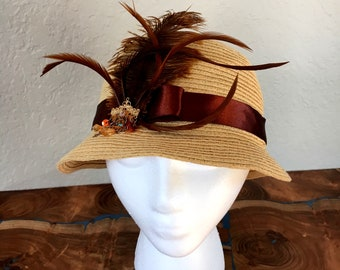 Beige and brown hat