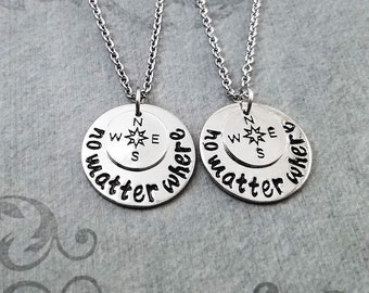 No Matter Where Necklace SET of 2 SMALL Charm Necklaces Compass Necklace Long Distance Relationship Couples Jewelry Best Friend Jewelry Gift