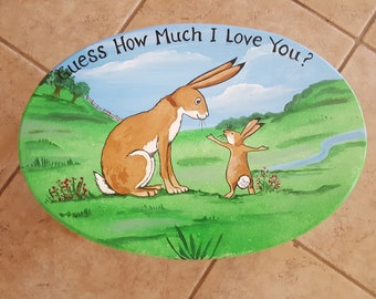 Hand painted 'Guess how much I love you' wood cricket stool