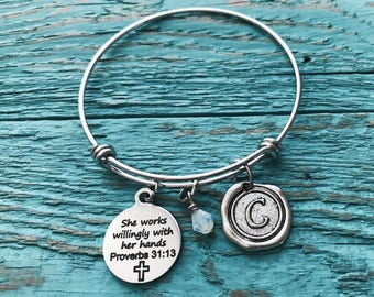 She works willingly, with her hands, proverbs 31 13, Nurse, RN, Scripture, Faith, Christian, Bible Verse, Charm Bracelet, Silver Bracelet