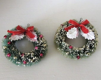 Set of 2 Genuine Vintage Flocked Bottle Brush Wreath Ornaments with Mercury Glass Beads - 1940's - Made in Japan