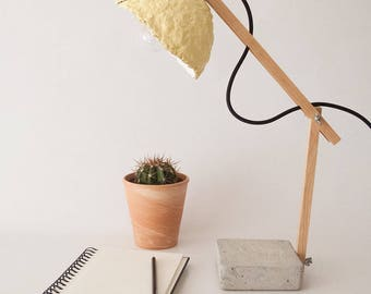 Concrete and paper lamp