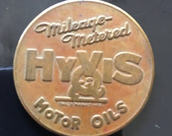 1930 Hyvis Oil Company Brass Mileage Tokens  Four in Group