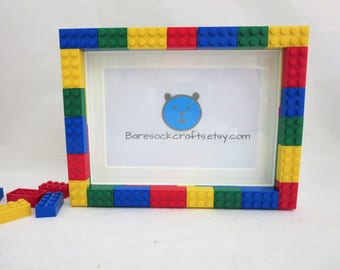 Picture Frame -  5x7 Photo Frame Made of  Lego Bricks in Primary Colors - Multi Colored Bricks Picture Frame - Kids Room Decor - Party Decor